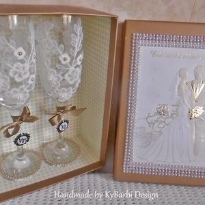 AKCIÓ! Esküvői pohár szett díszdobozban - Nászajándék - Pezsgős pohár - esküvői pohár - csipkés pohár (KyBarbi) - Meska.hu