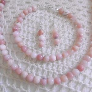 AKCIÓ! Rózsaopál (pink opál) ékszer szett - Peru gyöngyszemei - rózsaopál nyaklánc és karkötő szett -ásvány ékszer szett (KyBarbi) - Meska.hu