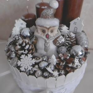 Hó-hó-hó hóbagoly - karácsonyi asztaldísz - adventi dekoráció - baglyos asztaldísz - téli hangulat (KyBarbi) - Meska.hu