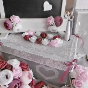 Luxus esküvői csomag - esküvői dekorációk, kellékek - pazar esküvő, Esküvő, Esküvői csokor, Esküvői dekoráció, Gyűrűpárna, Decoupage, transzfer és szalvétatechnika, Virágkötés, Egyedi design alapján készült esküvői dekorációs csomag, minőségi alapanyagokkal, kedvezményes csoma..., Meska