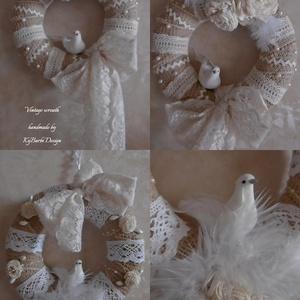 Vintage wreath - kopogtató - vintage ajtódísz - falidísz - vintage dekoráció (KyBarbi) - Meska.hu