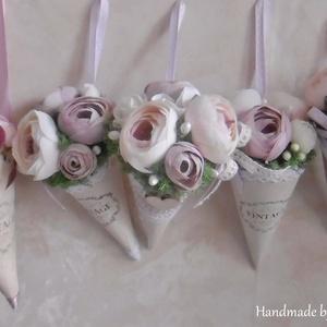 Vintage virágtölcsérek (4db) - Tavaszi dekoráció - Mini örökcsokrok - Tavaszi virágcsokor (KyBarbi) - Meska.hu