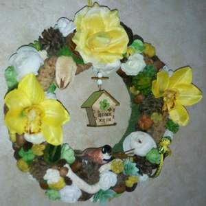 Orchideás - kövirózsás ajtódísz - Sweet home - ajtódísz, asztaldísz – greenery - édesotthon  (KyBarbi) - Meska.hu