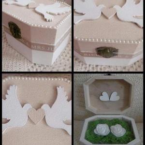 Esküvői gyűrűtartó doboz - Esküvői kellék - Gyűrűtartó - Gyűrűs doboz galambpárral, Esküvő, Esküvői dekoráció, Gyűrűpárna, Gyűrűpárna helyett...  Festett, mohával bélelt fa gyűrűtartó doboz galamb páros figurával, gyöngyökk..., Meska