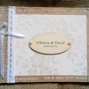 Vintage esküvői vendégkönyv - emlékkönyv - Vendégkönyv - Esküvői Emlékkönyv - könyv, Esküvő, Esküvői dekoráció, Otthon & lakás, Dekoráció, Ünnepi dekoráció, Szerelmeseknek, Nászajándék, Könyvkötés, Decoupage, transzfer és szalvétatechnika, Vintage stílusú, csipkével, gyöngyökkel és jutával díszített esküvői vendégkönyv. Egyedileg felirato..., Meska