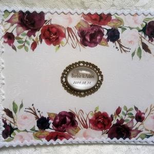 Virágos esküvői vendégkönyv - emlékkönyv - Vendégkönyv - Esküvői Emlékkönyv - könyv, Esküvő, Esküvői dekoráció, Otthon & lakás, Dekoráció, Ünnepi dekoráció, Szerelmeseknek, Nászajándék, Könyvkötés, Decoupage, transzfer és szalvétatechnika, Elegáns, fehér alapú, virágmotívumos, gyöngyökkel és csipkével díszített esküvői vendégkönyv. Egyedi..., Meska