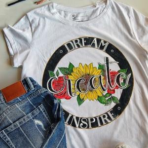 Create - kézzel festett póló, Táska, Divat & Szépség, Ruha, divat, Női ruha, Póló, felsőrész, Festészet, Festett tárgyak, Ez az igazán egyedi kézzel festett póló remek ruhadarab (ajándék) alkotó, kreatív lelkek számára :-)..., Meska