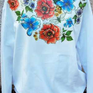 Vintage Flowers egyedi női pulóver, Táska, Divat & Szépség, Ruha, divat, Női ruha, Póló, felsőrész, Decoupage, transzfer és szalvétatechnika, Festészet, Lepd meg magadat vagy barátnődet ezzel a kivételes egyedi tervezésű pulóverrel.\n\nUniverzális darab, ..., Meska