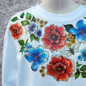 Vintage Flowers egyedi női pulóver (KykDesign) - Meska.hu
