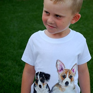 Puppies kézzel festett gyerekpóló, Táska, Divat & Szépség, Ruha, divat, Gyerekruha, Gyerek (1-10 év), Festett tárgyak, Festészet, Kézzel festett egyedi gyerekpóló póló. \nKiváló textilfesték alkalmazásával készult, ami vasalással f..., Meska