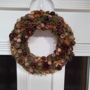 Őszi termés ajtódísz, Ajtódísz & Kopogtató, Dekoráció, Otthon & Lakás, Virágkötés, 35 cm polisztirol alapra, száraztermésekből készült kopogtató. Az ősz színeivel, hangulatával, jelké..., Meska