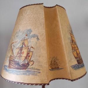 """Papír lámpaernyő \""""Hajós\"""", Otthon & Lakás, Lámpa, Állólámpa, Fémmegmunkálás, Festett tárgyak, A képen látható, egyedi kézzel festett, \nhajós motívumokkal díszített lámpaernyő, azonnal elvihető. ..., Meska"""