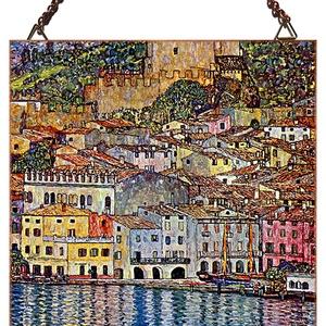 Gustav Klimt - Garda tó látképe, Otthon, lakberendezés, Üvegművészet, Alkotó: Gustav Klimt Szecessziós stílusú üvegkép. A festékréteget beleégetem az üvegbe, ez tartós, ..., Meska