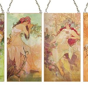 Alphonse Mucha-Négy évszak (Nagy méretű garnitúra), Otthon, lakberendezés, Üvegművészet, Alkotó: Alphonse Mucha Szecessziós stílusú üvegkép. A festékréteget beleégetem az üvegbe, ez tartós..., Meska