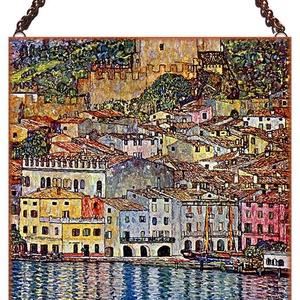 Gustav Klimt - Garda tó látképe, Lakberendezés, Otthon & lakás, Üvegművészet, Alkotó: Gustav Klimt\nSzecessziós stílusú üvegkép. A festékréteget beleégetem az üvegbe, ez tartós, i..., Meska