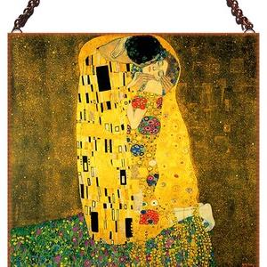 Klimt - A csók, Lakberendezés, Otthon & lakás, Üvegművészet, Alkotó: Gustav Klimt\nSzecessziós stílusú üvegkép. A festékréteget beleégetem az üvegbe, ez tartós, i..., Meska
