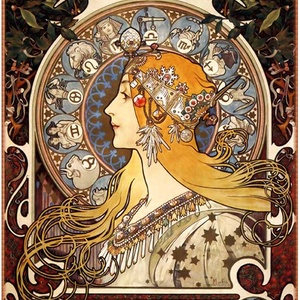 Zodiákus, Lakberendezés, Otthon & lakás, Üvegművészet, Alkotó: Alphonse Mucha\nSzecessziós stílusú üvegkép. A festékréteget beleégetem az üvegbe, ez tartós,..., Meska