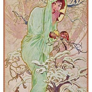 Tél, Lakberendezés, Otthon & lakás, Üvegművészet, Alkotó: Alfons Mucha\nSzecessziós stílusú üvegkép. A festékréteget beleégetem az üvegbe, ez tartós, i..., Meska