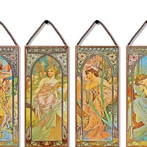 Alphonse Mucha-Napszakok (garnitúra), Lakberendezés, Otthon & lakás, Üvegművészet, Alkotó: Alphonse Mucha\nSzecessziós stílusú üvegkép. A festékréteget beleégetem az üvegbe, ez tartós,..., Meska