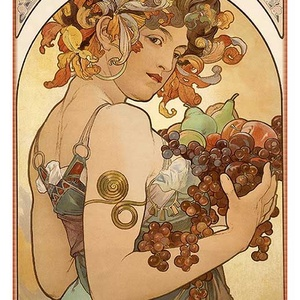 Alfons Mucha - Gyümölcs, Lakberendezés, Otthon & lakás, Üvegművészet, Alkotó: Alfons Mucha\nSzecessziós stílusú üvegkép. A festékréteget beleégetem az üvegbe, ez tartós, i..., Meska