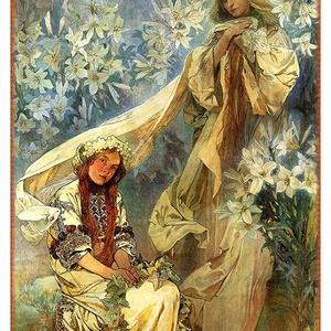 Alfons Mucha - Madonna of the lilies, Otthon & lakás, Lakberendezés, Üvegművészet, Alkotó: Alfons Mucha\nSzecessziós stílusú üvegkép. A festékréteget beleégetem az üvegbe, ez tartós, i..., Meska