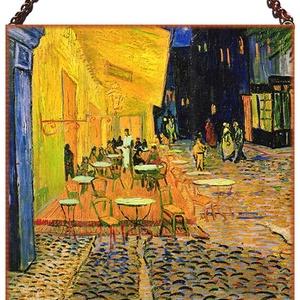 Van Gogh-Éjszakai kávéház (üvegkép), Otthon & lakás, Képzőművészet, Lakberendezés, Falikép, Üvegművészet, Antik stílusú üvegkép Van Gogh műve nyomán. Beégetett festék, tartós, időtálló kivitel. Réz szegélly..., Meska