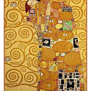 Gustav Klimt - Ölelés, Lakberendezés, Otthon & lakás, Üvegművészet, Alkotó: Gustav Klimt\nSzecessziós stílusú üvegkép. A festékréteget beleégetem az üvegbe, ez tartós, i..., Meska
