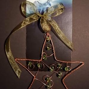 Karácsonyi csillag, Karácsony & Mikulás, Karácsonyfadísz, Fémmegmunkálás, Fenyőfára , vagy dekorációhoz is használható dísz. \nEgyedi, kézzel készített termék, réz dróttal, zö..., Meska