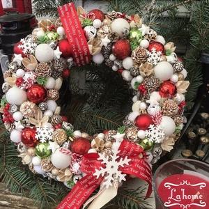 Merry Christmas kopogtató, Karácsonyi kopogtató, Karácsony & Mikulás, Otthon & Lakás, Virágkötés, Mérete: 28cm, Meska