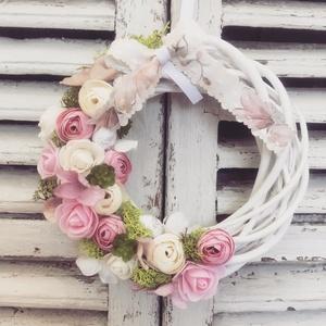 Virágos ajtódísz, Lakberendezés, Otthon & lakás, Ajtódísz, kopogtató, Virágkötés, Mérete: 20cm, Meska