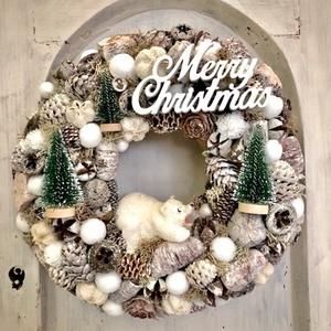 Jegesmaci ajtódísz, Karácsonyi kopogtató, Karácsony & Mikulás, Otthon & Lakás, Virágkötés, Mérete: 23cm, Meska