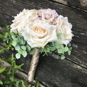 Esküvői csokor bézs, Menyasszonyi- és dobócsokor, Esküvő, Virágkötés, Örök csokor, nem kell aggódni, hogy a csokor elhervad. , Meska