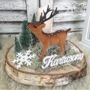 Erdei asztaldísz, Otthon & Lakás, Karácsony & Mikulás, Karácsonyi dekoráció, Virágkötés, Mérete: 18cm, Meska