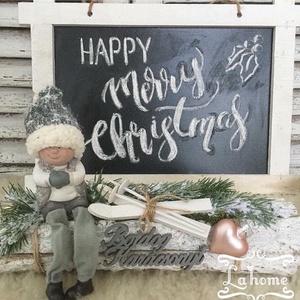 Síelős kisfiú asztaldísz, Otthon & Lakás, Karácsony & Mikulás, Karácsonyi dekoráció, Virágkötés, Mérete: 30cm, Meska
