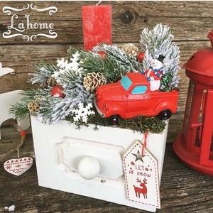 Autó egy szerpentinen-piros, Otthon & Lakás, Karácsony & Mikulás, Karácsonyi dekoráció, Virágkötés, Mérete: 20cm, Meska