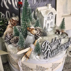 Téli menedék box, Otthon & Lakás, Karácsony & Mikulás, Karácsonyi dekoráció, Virágkötés, Mérete: 20cm, Meska