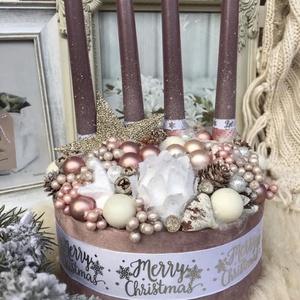 Lila box, Otthon & Lakás, Karácsony & Mikulás, Karácsonyi dekoráció, Virágkötés, Mérete: 20cm, Meska
