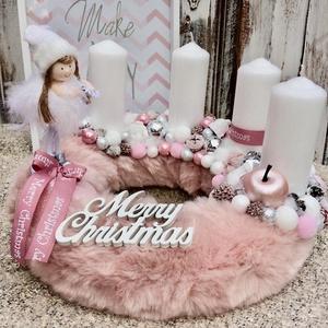 Rózsaszín angyalkás adventi koszorú, Karácsony & Mikulás, Adventi koszorú, Virágkötés, Mérete: 28cm, Meska
