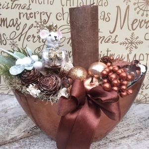 Egérkirálynős asztaldísz-bronz, Karácsony & Mikulás, Karácsonyi dekoráció, Virágkötés, Mérete: 20cm, Meska