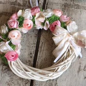 Virágos ajtódísz, Otthon & Lakás, Dekoráció, Ajtódísz & Kopogtató, Virágkötés, Mérete: 20cm, Meska