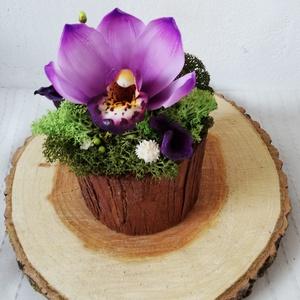 Agyag orchidea, Karácsony, Otthon & lakás, Dekoráció, Lakberendezés, Asztaldísz, Festészet, Gyurma, Kézzel készült virágok. Fehér levegőn száradó agyagból készítem a virágok mibden egyes részét és ola..., Meska