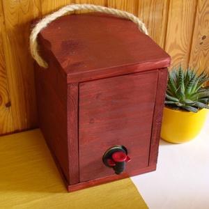 """Bag-in-Box Díszdoboz - \""""vörös\"""" 3 literes, Otthon & Lakás, Konyhafelszerelés, Bortartó, Famegmunkálás, \nBag in box díszdoboz – 3 literes - vörösborokhoz\n\nFogyaszd kedvenc vörösborodat vagy gyümölcsleved ..., Meska"""
