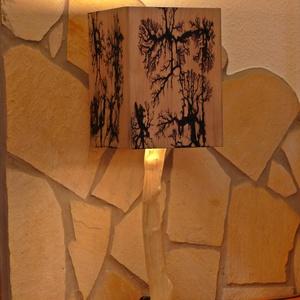 Különleges asztali lámpa fából, Otthon & lakás, Lakberendezés, Lámpa, Asztali lámpa, Famegmunkálás, Kedves Érdeklődő!\nA képen látható asztali lámpa búrája rétegelt lemezből készült, és hazánkban még k..., Meska
