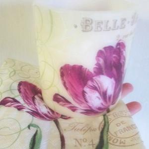 Tulipános Lampiongyertya , Gyertya & Gyertyatartó, Dekoráció, Otthon & Lakás, Gyertya-, mécseskészítés, A La Belle Jardiniére  Lampiongyertya\n\nGyertya mindamellett hogy csodás dísz, varázslatos fényt is a..., Meska