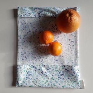 Kék, virágos ablakos szütyő, Táska & Tok, Bevásárlás & Shopper táska, Zöldség/Gyümölcs zsák, Varrás, Meska