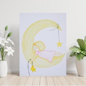 Holdon, csillagokkal alvó lány, akvarell festmény, vászon, Gyerek & játék, Gyerekszoba, Dekoráció, Otthon & lakás, Kép, Festészet, Fotó, grafika, rajz, illusztráció, Akvarell festékkel és akvarell ceruzával, előre alapozott (280g) feszített pamut vászonra készült fe..., Meska