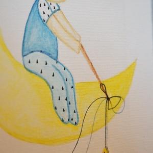 Holdon, csillagot horgászó fiú, akvarell festmény, fászon, Gyerek & játék, Gyerekszoba, Dekoráció, Otthon & lakás, Kép, Festészet, Fotó, grafika, rajz, illusztráció, Akvarell festékkel és akvarell ceruzával, előre alapozott (280g) feszített pamut vászonra készült fe..., Meska