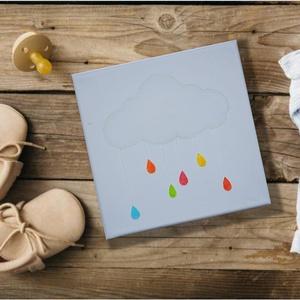 Felhő színes esőcseppekkel, akvarell festmény, feszített vászonra, Dekoráció, Otthon & lakás, Kép, Gyerek & játék, Gyerekszoba, Festészet, Fotó, grafika, rajz, illusztráció, Akvarell festékkel és akvarell ceruzával, előre alapozott (280g) feszített pamut vászonra készült fe..., Meska