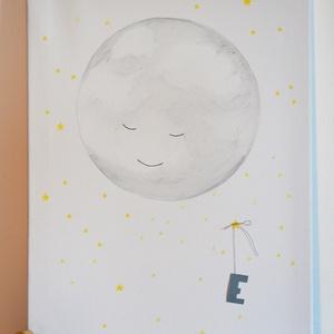Hold-Nevető, alvó hold, egyedileg választható betűvel (Laneys) - Meska.hu