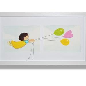 Lufikkal álmában repülő lány, akvarell festmény, 3D térbeli hatással, Gyerek & játék, Gyerekszoba, Dekoráció, Otthon & lakás, Kép, Festészet, Fotó, grafika, rajz, illusztráció, Akvarellel, akvarell papírra festett, keretezett kép.\nAzonnal a falra helyezhető, a hátulján elhelye..., Meska